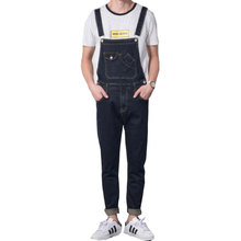 jean men 2019 Retro Design Pocket jeans Denim Overalls Men's Casual Wash Slim Bib Overalls jeans Men Blue Jumpsuit jeans цена