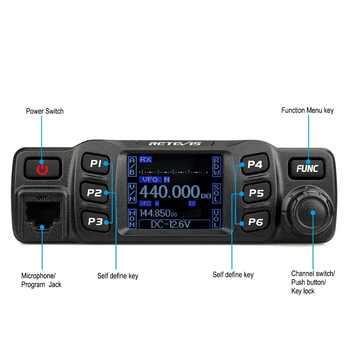 Retevis RT95 Mobile Car Radio Walkie Talkie VHF UHF Dual Band Two Way Radio 25W 200CH DTMF TFT LCD Display Ham Radio Amador+MIC