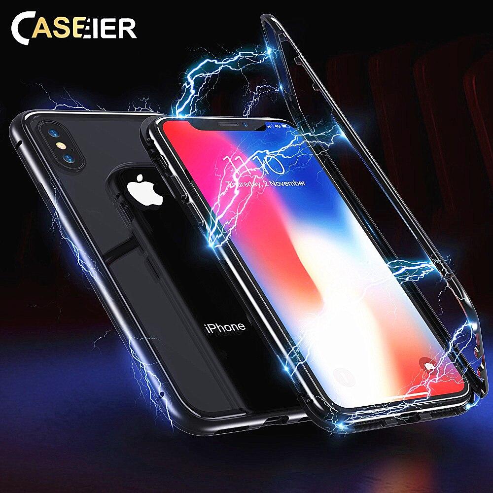 CASEIER Super Magnetic Glass Phone Case For iPhone 6 6S Plus 7 8 X Transparent XR XS MAX Back Cover Funda Capa