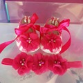 2015 new infant baby moccasins for girls;sapatos de bebe meninas toddler baby booties ankle,baby shoe and hair set