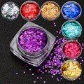 Glitter Nail Art Decoración de uñas Glitter Powder 12 Colores holo irregular Paillette Del Brillo de Uñas Herramienta
