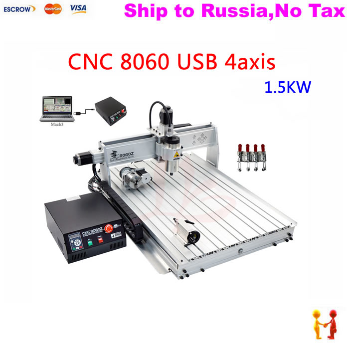 (NO TAX TO Russia) 8060 cnc milling machine rotary axis 1.5KW Powerful Brushless frequency spindle mach3 control no tax to russia 4axis cnc metal engraving machine 8060 rotary axis 2 2kw spindle ball screw wtih mach3 remote control