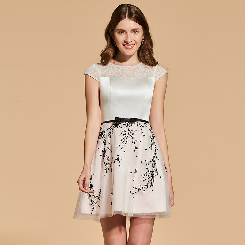 Tanpell appliques   cocktail     dress   lace short sleeves above knee a line gown women prom homecoming customed short   cocktail     dresses