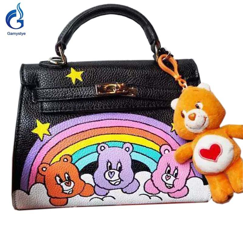 Cute bear and rainbow women's bags female Leather Handbag lady totes Messenger Bags Hand Painted art Design Graffiti custom