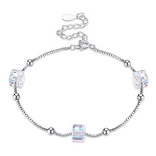 Austria Elements Crystal Three Crystals Ball Bracelet for Women European and American Style Fashion Sterling Silver 925 Square