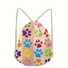 Dog Pattern Drawstring Bags Girls Custom Storage Printed Backpacks Rucksack Storage Bags Softback Women's Mochila rugzak Bolsa