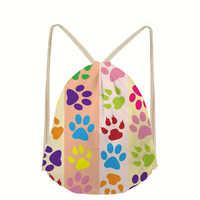 Dog Pattern Drawstring Bags Girls Custom Storage Printed Backpacks Rucksack Storage Bags Softback Women's Mochila rugzak Bolsa