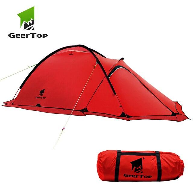 GeerTop חורף אלפיני אוהל האולטרה עמיד למים 2 אדם 4 עונה חיצוני הרי קמפינג אוהלי בטוח משקף חגורת טיול תיירות