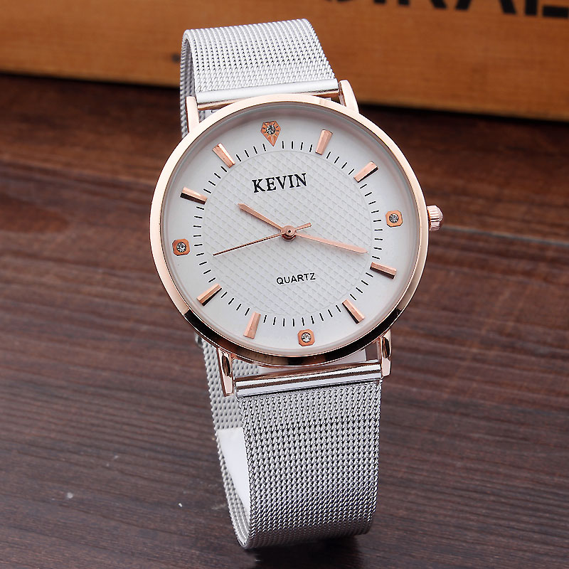 KEVIN Brand Fashion Crystal Women Watches Simple Design Rose Gold Dial Silver Steel Mesh Band Quartz WristWatches Mens Gifts friendship gifts birthday gifts fw819e rose gold band white dial ladies elegant alexis brand crystal bracelet watch gifts box