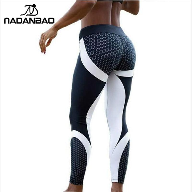 NADANBAO New Arrival Pattern Leggings Women Printed Pants Work Out Sporting Slim White Black Trousers Fitness Leggins