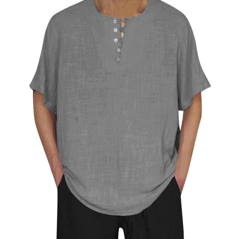 夏シャツカミーサソーシャル Masculina 男性綿リネン半袖無地ボタンカジュアルレトロメンズシャツトップスだぶだぶブラウス