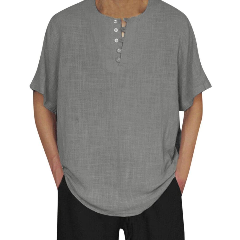 Summer Shirt Camisa Social Masculina Male Cotton Linen Short Sleeve Solid Color Button Casual Retro Men Shirts Tops Baggy Blouse