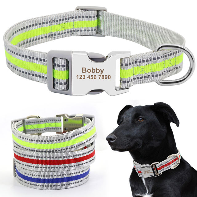 Custom Nylon Dog Collar Personalized Pet Puppy Nameplate Tag Collars Reflective Engraved ID Collars For Medium Large Dogs Pets