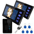 """7"""" Wired Video Door Phone Intercom System 2 Monitor+1 Kit IR Night Vision Camera With Password Panel+Remote Controller+5 keyfobs"""