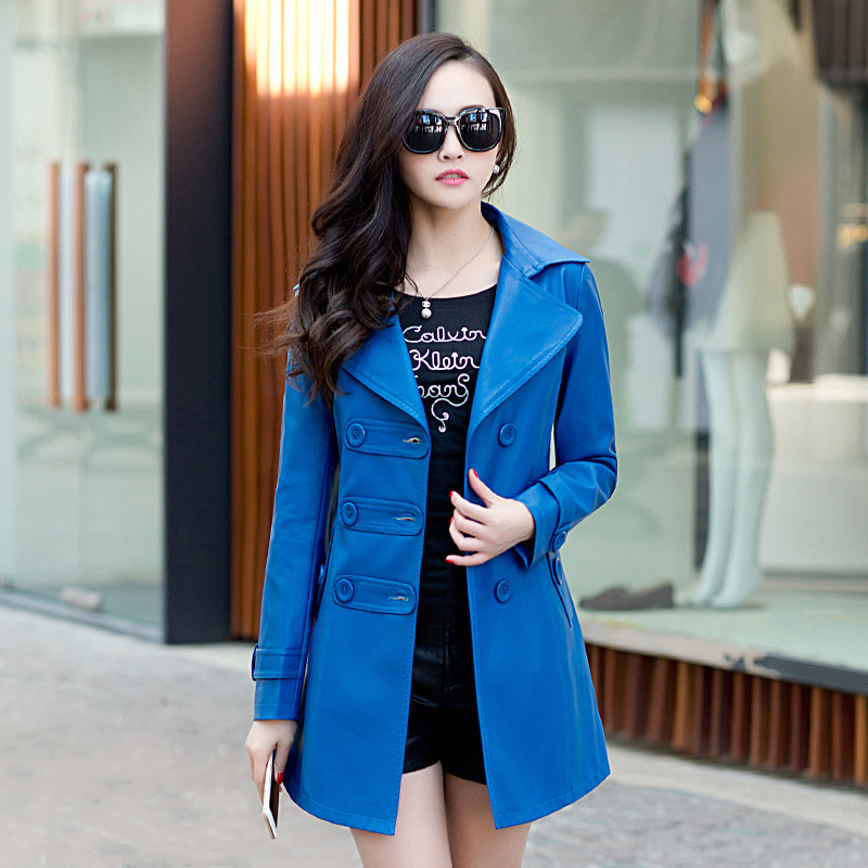 font b Women s b font Fashion Jackets Leather Long font b Coat b font