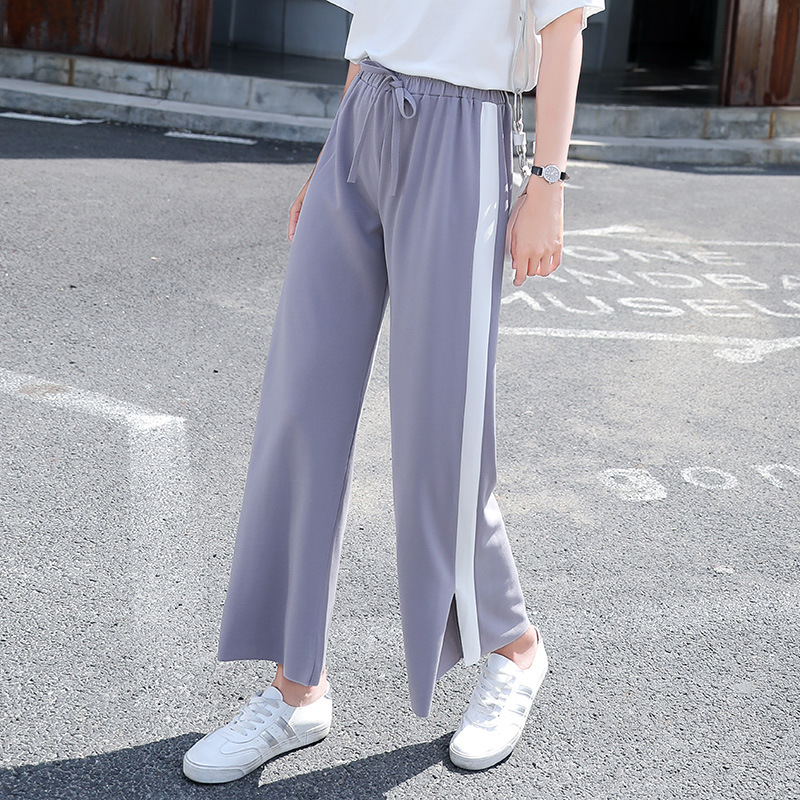 ZADORIN Summer Streetwear High Waist Side Striped   Wide     Leg     Pants   Split Baggy   Pants   Women Trousers palazzo   pants   pantalon femme