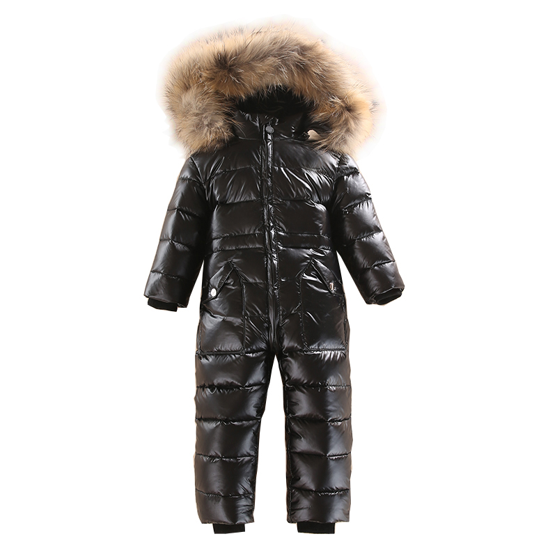 2~5 Years Russian Winter Baby White Duck Down Rompers with Real Fur Hood Outdoor Skit Snowsuit  Girls clothing Infant Boy Romper new winter baby hat real fur pom pom knitted toddler kid thick warm double raccoon fur balls beanies boys girls bonnet gorros f3