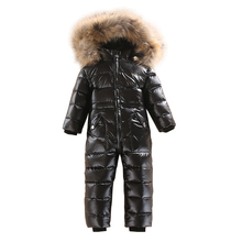 2~5 Years Russian Winter Baby White Duck Down Rompers with Real Fur Hood Outdoor Skit Snowsuit Girls clothing Infant Boy Romper