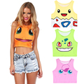 New Pokemon Cartoon Pattern Crop Top Women Camis Pikachu Charmander Squirtle Print tank tops Colorful sleeveless Tee Vest