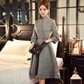Originais da marca 2016 vestidos de fiesta outono inverno three quarter manga cintura fina ocasional elegante de lã mulheres dress atacado