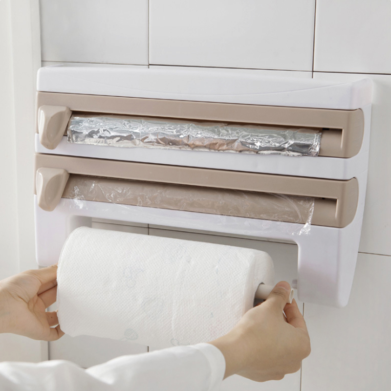 Plástico Geladeira Película Aderente Envoltório Cortador de Corte Rack de Armazenamento Da Cozinha Prateleira Suporte De Toalha de Papel Da Folha de Lata de Plástico Pendurar Titular