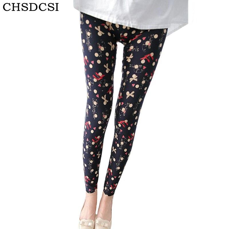CHSDCSI Print Leggings Summer Style Leggings Women Pantalones Black Milk Soft Skin Legging Material Nine Women's Leggins