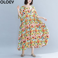 Plus Size 4XL 5XL 6X Beach Dress Sundress Big Size Pleated Print Floral Long Dress Women Casual Loose Summer Dress 2019 Vestidos