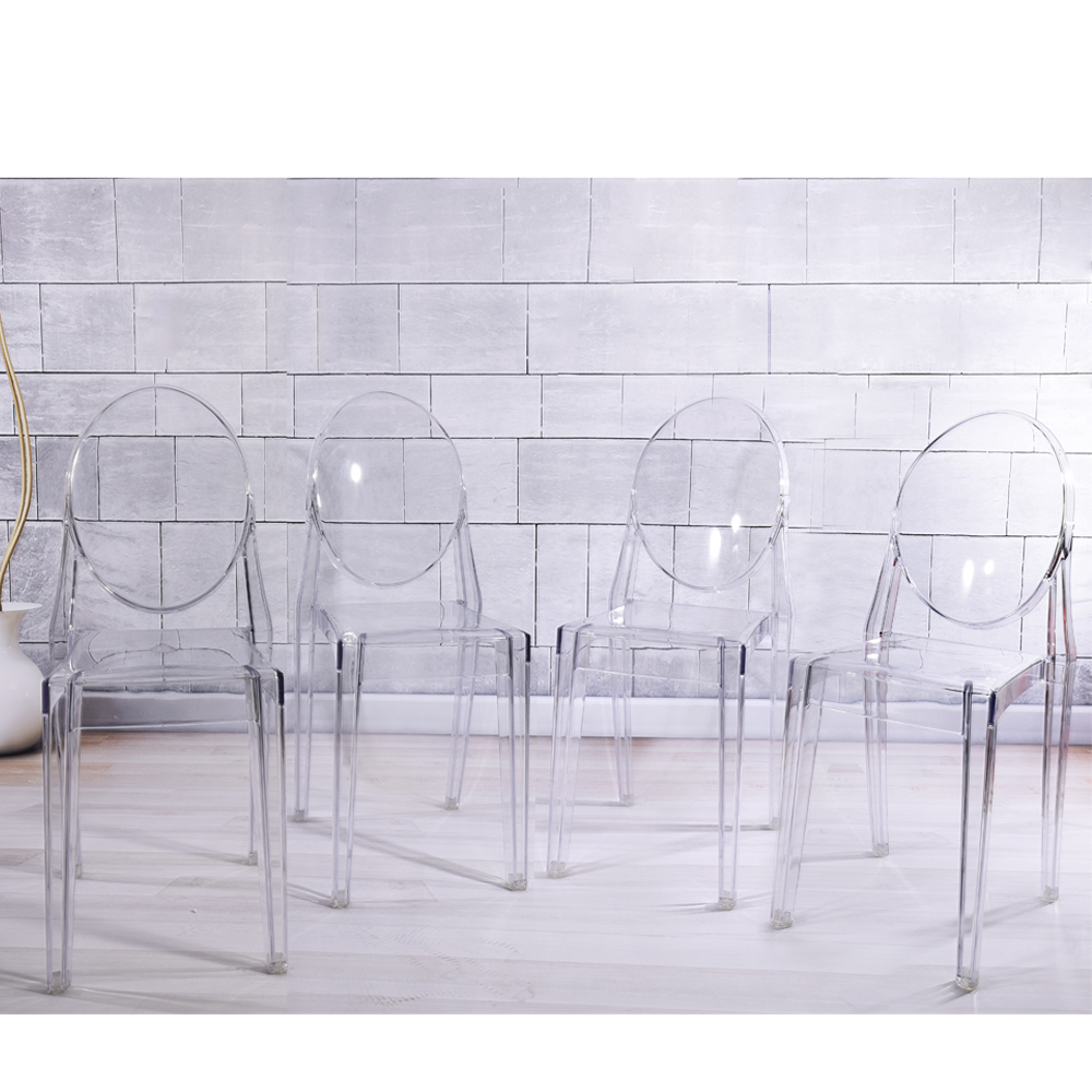 цена на Dining Chair 4pcs/lot Ghost Poly Carbonate Transparent Clear Philippe Stack Style HOT SALE