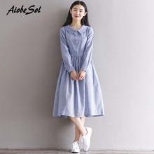 27f35abaeff AiobeSol Japanese Mori Girl Autumn Women Students Literary Striped Long  Sleeve Dress