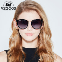 VEGOOS New Polarized Women Round Sunglasses Brand Designer Fashion Retro Cat Eye Polaroid Sun Glasses 6112