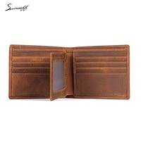 Smirnoff Custom Name Wallet Multi Function Genuine Leather Short Purses Luxury Male Credit ID Card Holders
