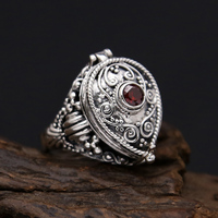 Solid Silver 925 Amulet Box Rings Men With Red Stone Vintage Handmade Real 925 Sterling Silver Jewelry Men Cool Bijoux Gifts