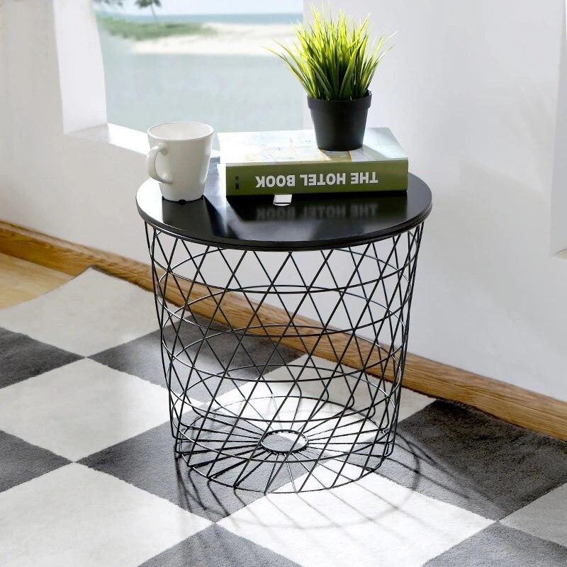 modern minimalism europe storage side table metal wire storage tea table multifunction coffee table