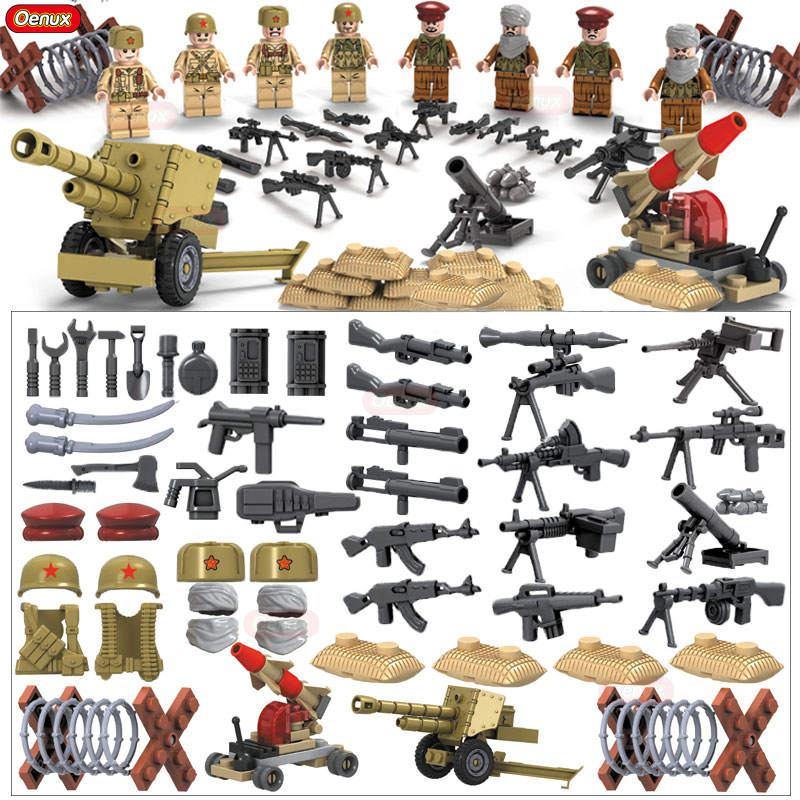 Oenux 2018 WW2 Afghan Army VS Soviet Army Model Military Building Block World War II Soldiers Figures With Weapons Brick Kid Toy 4pcs lot world war ii troops military german collector s edition kid baby toy figure building blocks set model minifigures brick