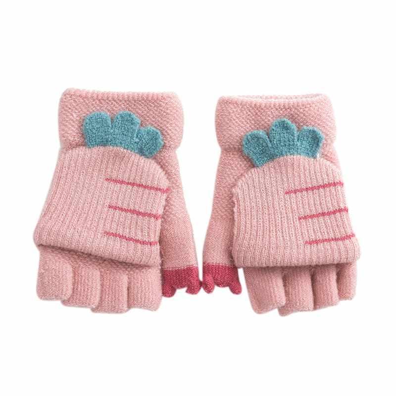 Детские перчатки без пальцев, Детские Зимние Хлопковые вязаные перчатки с героями мультфильмов, теплые вязаные перчатки для детей