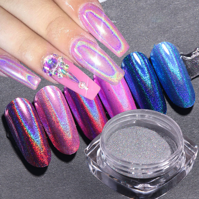 Holographic Powder Nail Glitter Chrome Mirror Pigment Dust Silver Rose Gold Nail Art Decorations Designs Polish Manicure TR966