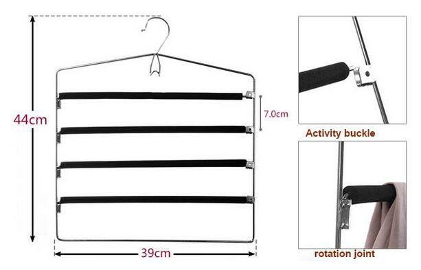 Metal High-grade Multi-storey Non-slip Trousers rack Multi-function Coat hanger Creative wardrobe trousers  rack Coat Racks
