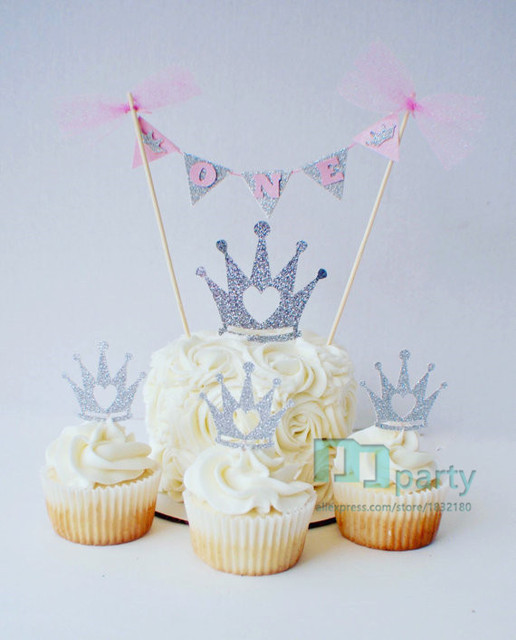 1set Princess Crown Cake Banner Topper 1st Birthday Pink And Silver One Bunting