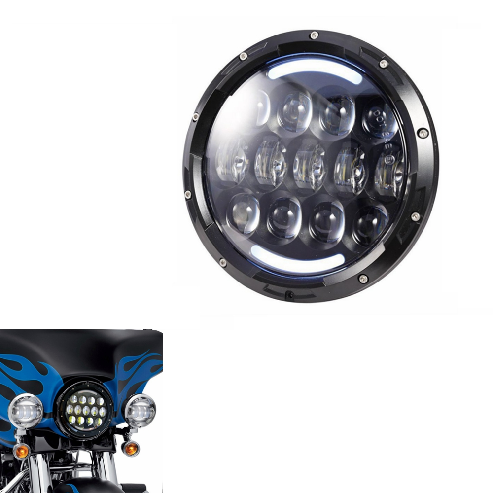 1 pcs 7 Inch Round LED Projection Daymaker Headlight for Harley Davidson Motorcycles with Hi/Lo Beam(Black) (7 inch 105w) 7 inch black round plastic rotary plate turnplate clay pottery sculpture tool