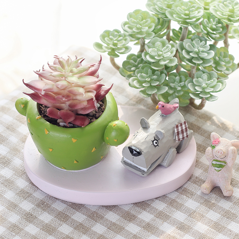 ROOGO Mini Succulent Plants Pot flower potted Animals Resin Flowerpots Desktop Office Yard Home Decor DIY Modern home