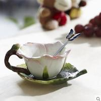 Powder rose cup ceramic cup creative teacup set coffee cup herb tea set lovely wedding cup dish spoon combination