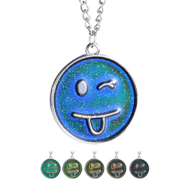 Cute style changing color necklace mood necklace emotion feeling cute style changing color necklace mood necklace emotion feeling temperature smile face pendant necklace aloadofball Gallery