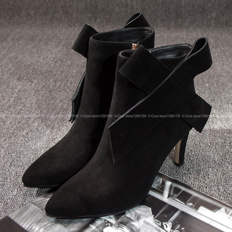 Plus EUR Size 40 2017 Ladies Nubuck Leather Autumn Footwear Women Designer Shoes Sexy Heels Ankle Boots Pointed Toe Boots egonery quality pointed toe ankle thick high heels womens boots spring autumn suede nubuck zipper ladies shoes plus size