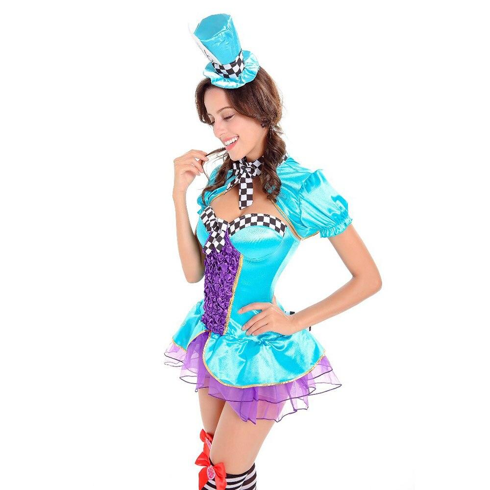 Women\'s Sexy Mad Hatter Costume Alice In Wonderland Fancy Dress ...