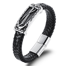 Steampunk Style 100% Leather  Charm Magnetic Bracelet Bangle for Men