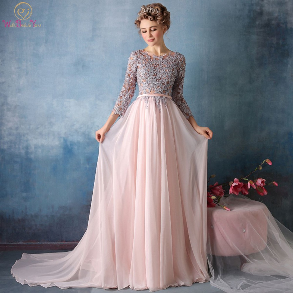 Walk Beside You Pink Chiffon   Evening     Dresses   Gray Lace Appliqued Three Quarter Sleeves Prom Long Formal Gown Abiti Da Cerimonia