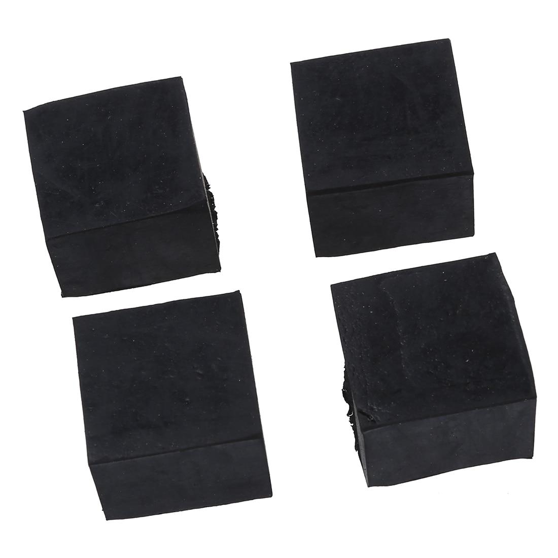4 Pcs Black Chair Table Leg Rubber Foot Covers Protectors 28mm x 28mm