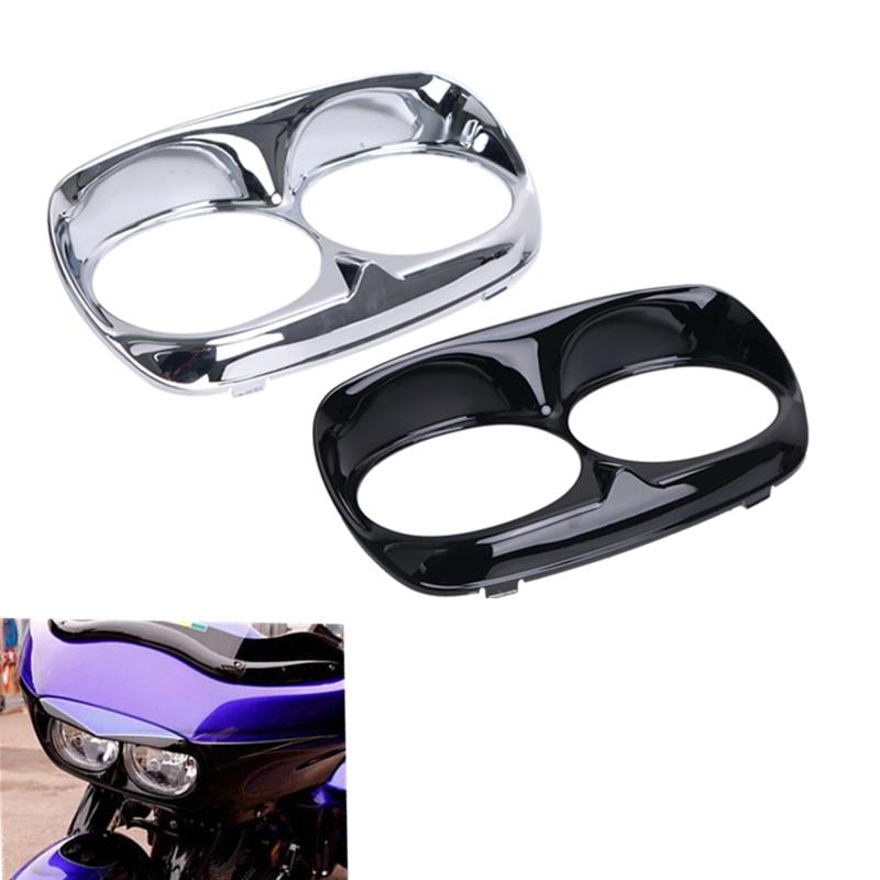 Motorcycle Headlight Bezel Scowl Outer Fairing For Harley Road Glide 1998-2013 Black / Chrome OEM 2350-0164 #MBT238 7pcs oem chrome headlight master window