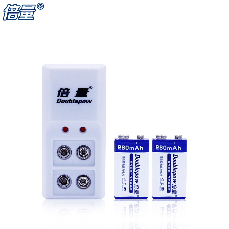 Doublepow New DP 6F22 9V Battery 280 mAh 2 batteries multimeter microphone Battery 9 V B09