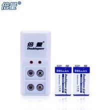 Doublepow Новый DP-6F22 9 V Батарея 280 mAh * 2 батареи мультиметр микрофон Батарея + 9 V B09 зарядное устройство * 1, радиоуправляемые игрушки